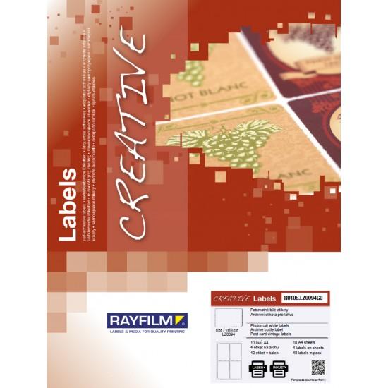 Etich pentru spatele sticlei hartie vintage crem 4/A4 laser 10/set Rayfilm-Creativ