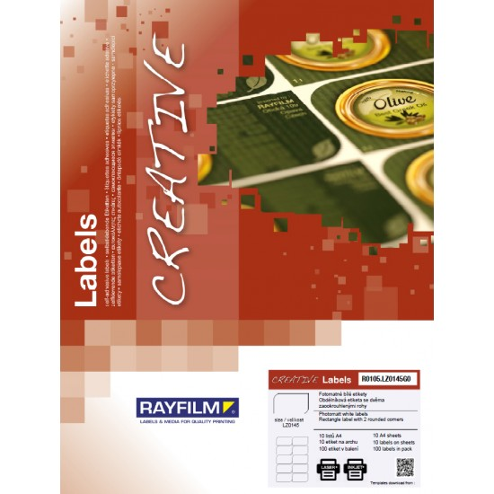 Etich dreptunghi doua colturi rotunjite High Glossy 10buc/A4 laser 10/set Rayfilm-Creativ